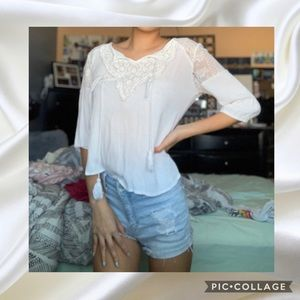 Tops - White Lace Half Sleeve Shirt